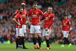 4th March 2017 - Premier League - Manchester United v Bournemouth - Man Utd players Juan Mata (L), Paul Pogba (2L), Zlatan Ibrahimovic (2R) and Wayne Rooney (R) stand together - Photo: Simon Stacpoole / Offside.