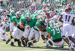 Sep 5, 2020; Huntington, West Virginia, USA; Marshall Thundering Herd running back Brenden Knox (20) runs for a touchdown during the first quarter against the Eastern Kentucky Colonels at Joan C. Edwards Stadium. Mandatory Credit: Ben Queen-USA TODAY Sports