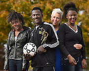 Mara Lavitt--Special to the Hartford Courant<br /> November 7, 2015 <br /> Barbara Eddy, third from left, adopted siblings from left: Shelove, Daniel and Edeline from Haiti. Daniel now plays varsity soccer for South Windsor High School.