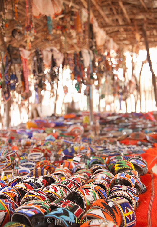 Maasai beaded bracelets and necklaces for sale at a village market, near Amboseli National Park, Kenya