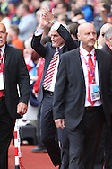 Stoke City Manager Mark Hughes applauds the fans prior to kick off. Premier league match, Stoke City v Tottenham Hotspur at the Bet365 Stadium in Stoke on Trent, Staffs on Saturday 10th September 2016.<br /> pic by Chris Stading, Andrew Orchard sports photography.