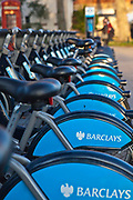 Bikes lined up in the Barclay Cycle Hire stand, Mayfair, London. Part of Transport for London.