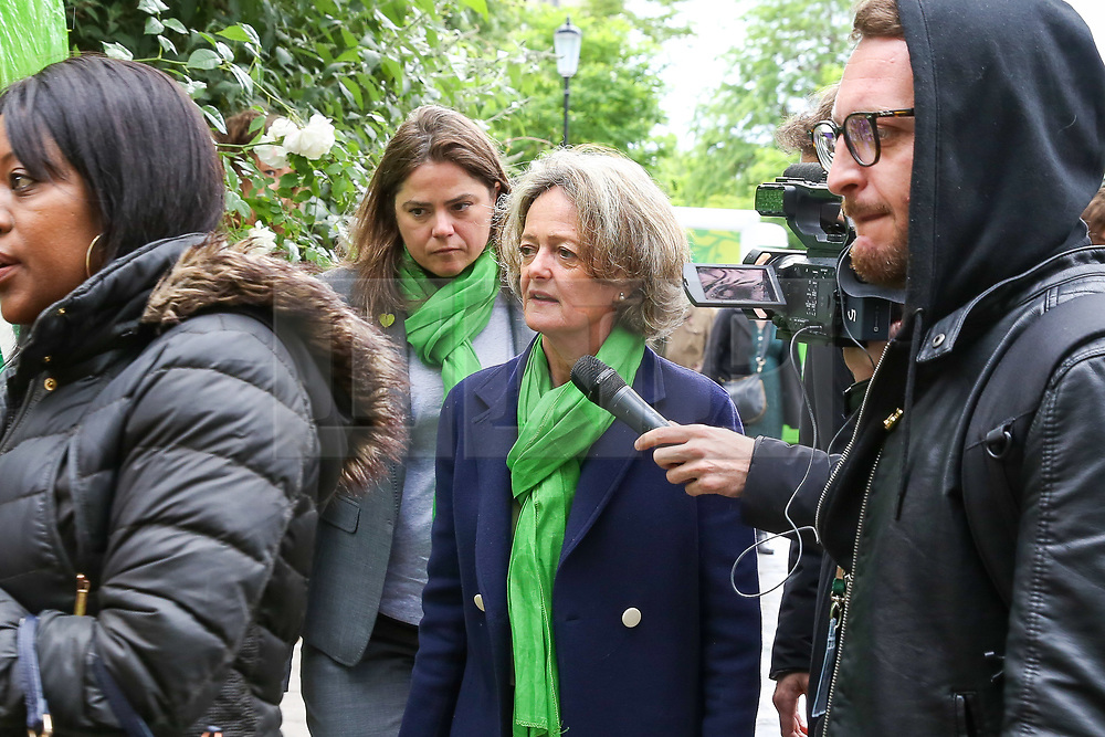 © Licensed to London News Pictures. 14/06/2019. London, UK. Kensington and Chelsea council leader, Elizabeth Campbell, arrives at St Helen's Church to commemorate the second anniversary of the Grenfell Tower fire service. On 14 June 2017, just before 1:00 am a fire broke out in the kitchen of the fourth floor flat at the 24-storey residential tower block in North Kensington, West London, which took the lives of 72 people. More than 70 others were injured and 223 people escaped. Photo credit: Dinendra Haria/LNP