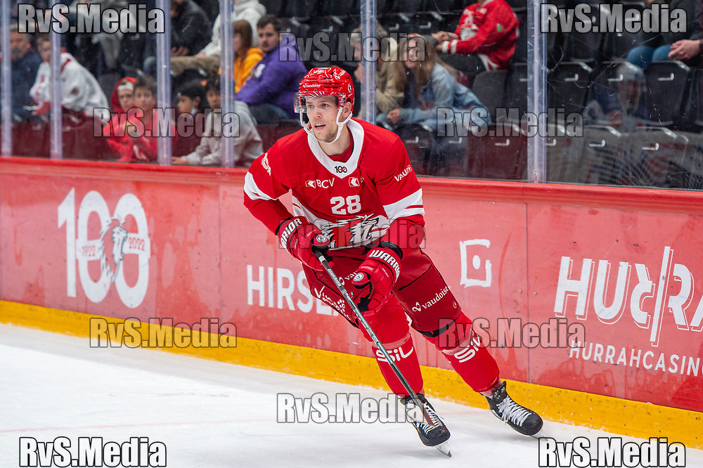 LAUSANNE, SWITZERLAND - OCTOBER 01: Martin Gernat #28 of Lausanne HC in action during the Swiss National League game between Lausanne HC and ZSC Lions at Vaudoise Arena on October 1, 2021 in Lausanne, Switzerland. (Photo by Monika Majer/RvS.Media)