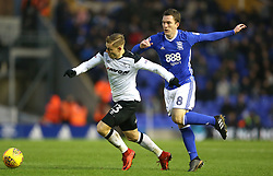 Birmingham City's Craig Gardner (right) and Derby County's Matej Vydra battle for the ball