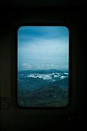 Mountainous landscape seen from a window in a train from Ella to Kandy, Sri Lanka, Asia