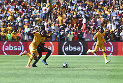 South Africa: Johannesburg: Orlando Pirates player Augustine Mulenga challenges for the ball against Kaizer Chiefs player Bernard Parker during the Soweto derby, for the Absa Premiership at FNB Stadium, Gauteng.<br />Picture: Itumeleng English/African News Agency (ANA)