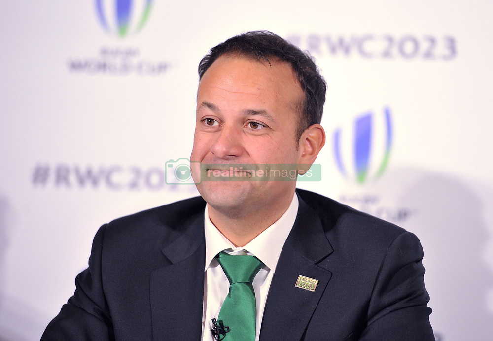 Taoiseach, Leo Varadkar speaks in support of the IRFU during the 2023 Rugby World Cup host candidates presentations at the Royal Garden Hotel in London, where they are bidding to host the event against France and South Africa.