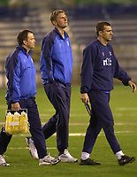 Rangers v Miami Fusion friendly match, Fort Lauderdale, Florida.<br /><br />Pic Ian Stewart,  Saturday January 20th, 2001.<br /><br />Tore Andre Flo walks across the pitch before kick noff with back room staff and Sergio Porrini.