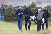 4th October 2017, The Old Course, St Andrews, Scotland; Alfred Dunhill Links Championship, practice round; Rory McIlroy, of Northern Ireland, and Niall James Horan of One Direction chat during a practice round before the Alfred Dunhill Links Championship on the Old Course, St Andrews