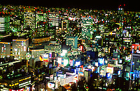 Nighttime view of the Tokyo skyline from Shiodome toward the Ginza, Tokyo, Japan