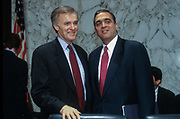 WASHINGTON, DC, USA - 1997/05/06: CIA Director designate George Tenet chats with Senate Intelligence Chairman Bob Kerry, left, before appearing before the Senate Intelligence Committee hearing on his nomination on Capitol Hill May 6, 1997 in Washington, DC.    (Photo by Richard Ellis)