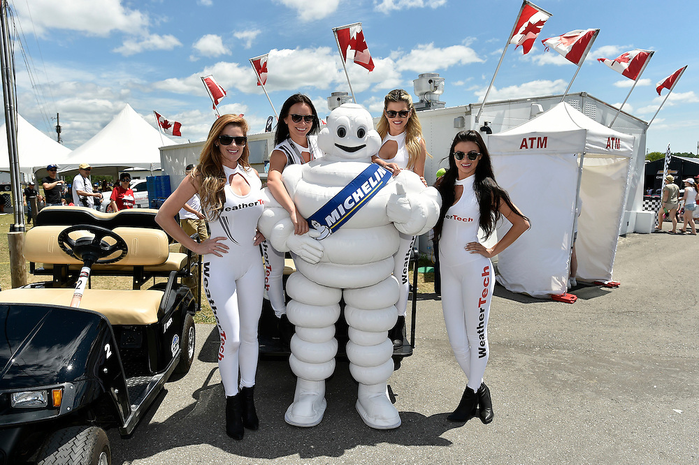 7-10 July 2016, Bowmanville, Ontario Canada<br /> Michelin Man, Bib, WeatherTech girls, atmosphere <br /> ©2016, Scott R LePage <br /> LAT Photo USA