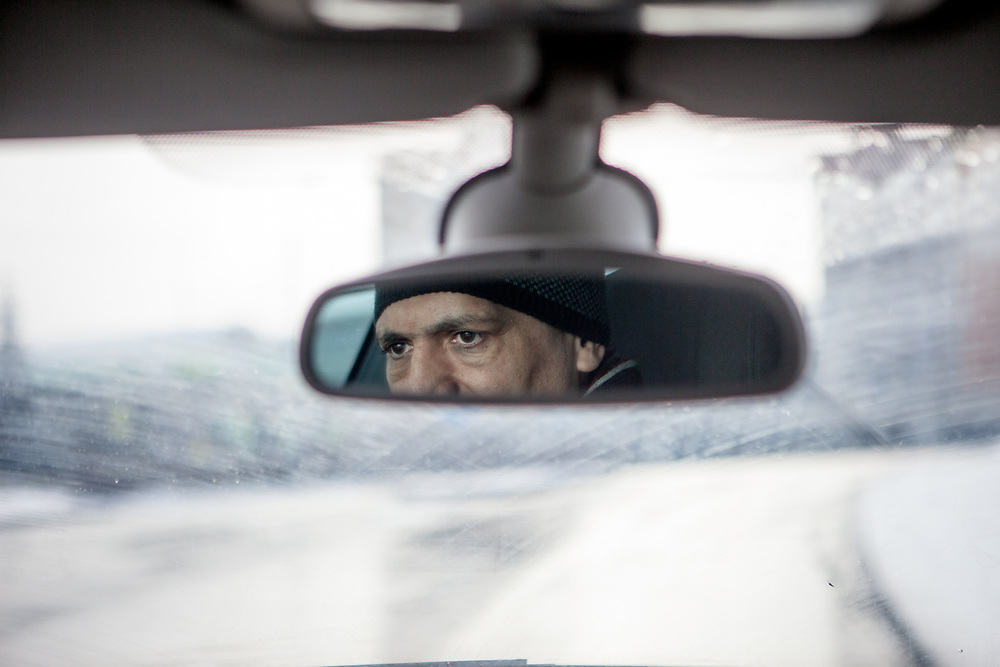 Portrait of volunteer and Roma activist Miroslav Klempar driving his car. Mr. Klempar lived with his family for 13 years in the UK and is now back and working in his home town Ostrava with the Roma community.