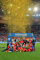PSG's players are pictured with trophy during the French League Cup final football match between SC Bastia and Paris Saint Germain on April 11, 2015 at Stade de France in Saint Denis. Photo Stephane Allaman / DPPI