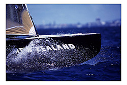 The defender Team New Zealand...New Zealand, a country that absorbs their sportng achievements into legend. The America's Cup, the oldest sporting trophy,  won and retained by an NZ based syndicate, with considerable state aid and of course the support of the people, in their droves...Marc Turner / PFM