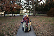 Meet Sister Ann Vincent Glatter, affectionately, Annie. She has been a nun at the Motherhouse for 69 years and has lived  on and off campus. Here she returns from a visit to the cemetery. Every-time she catches the camera she laughs, smiles, and giggles.