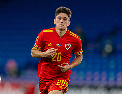 CARDIFF, WALES - Wednesday, November 18, 2020: Wales' Daniel James celebrates after scoring the second goal during the UEFA Nations League Group Stage League B Group 4 match between Wales and Finland at the Cardiff City Stadium. Wales won 3-1 and finished top of Group 4, winning promotion to League A. (Pic by David Rawcliffe/Propaganda)