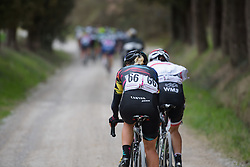 Trixi Worrack (CANYON//SRAM Racing) has the leaders in her sights at Strade Bianche - Elite Women. A 127 km road race on March 4th 2017, starting and finishing in Siena, Italy. (Photo by Sean Robinson/Velofocus)