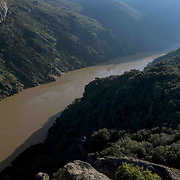 The Douro river running through its narrow valley near the Mirandese Plateau