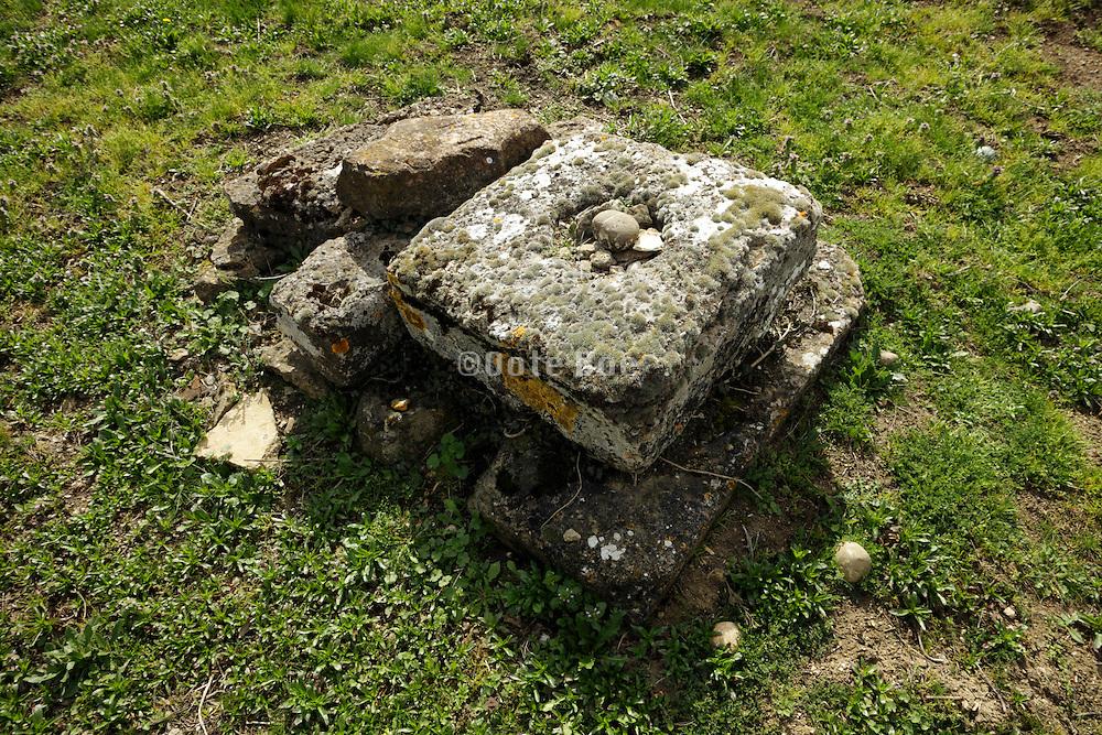 graveyard memorial with missing cross