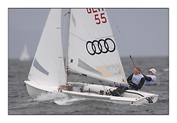 470 Class European Championships Largs - Day 2.Wet and Windy Racing in grey conditions on the Clyde...GER55, Jasper WAGNER, Dustin BALDEWEIN, Verein Seglerhaus Am Wannsee..