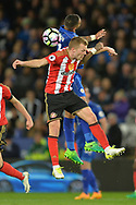 Danny Simpson of Leicester city and Lee Cattermole of Sunderland  jump for the ball . Premier league match, Leicester City v Sunderland at the King Power Stadium in Leicester, Leicestershire on Tuesday 4th April 2017.<br /> pic by Bradley Collyer, Andrew Orchard sports photography.