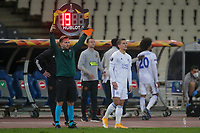 ATHENS, GREECE - OCTOBER 29: Substitution for Leicester City during the UEFA Europa League Group G stage match between AEK Athens and Leicester City at Athens Olympic Stadium on October 29, 2020 in Athens, Greece. (Photo by MB Media)