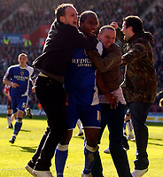 Photo: Alan Crowhurst.<br />Southampton v Cardiff City. Coca Cola Championship. 01/04/2006. Cardiff fans celebrate the goal with Cameron Jerome.