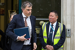 London, UK. 7 May, 2019. Julian Smith MP, Chief Whip, leaves the Cabinet Office following cross-party Brexit talks with Labour Party representatives Shadow Chancellor John McDonnell, Shadow Secretary of State for Exiting the European Union Sir Keir Starmer, Shadow Secretary of State for Business, Energy and Industrial Strategy Rebecca Long-Bailey and Shadow Secretary of State for the Environment Sue Hayman. Talks resume tomorrow.