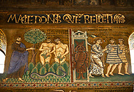 Medieval Byzantine style mosaics of the story of Adam & Eve being expelled from Eden,  the Palatine Chapel, Cappella Palatina, Palermo, Italy .<br /> <br /> If you prefer you can also buy from our ALAMY PHOTO LIBRARY  Collection visit : https://www.alamy.com/portfolio/paul-williams-funkystock/byzantine-art-antiquities.html . Type -    Palatine     - into the LOWER SEARCH WITHIN GALLERY box. Refine search by adding background colour, place, museum etc<br /> <br /> Visit our BYZANTINE MOSAIC PHOTO COLLECTION for more   photos  to download or buy as prints https://funkystock.photoshelter.com/gallery-collection/Roman-Byzantine-Art-Artefacts-Antiquities-Historic-Sites-Pictures-Images-of/C0000lW_87AclrOk