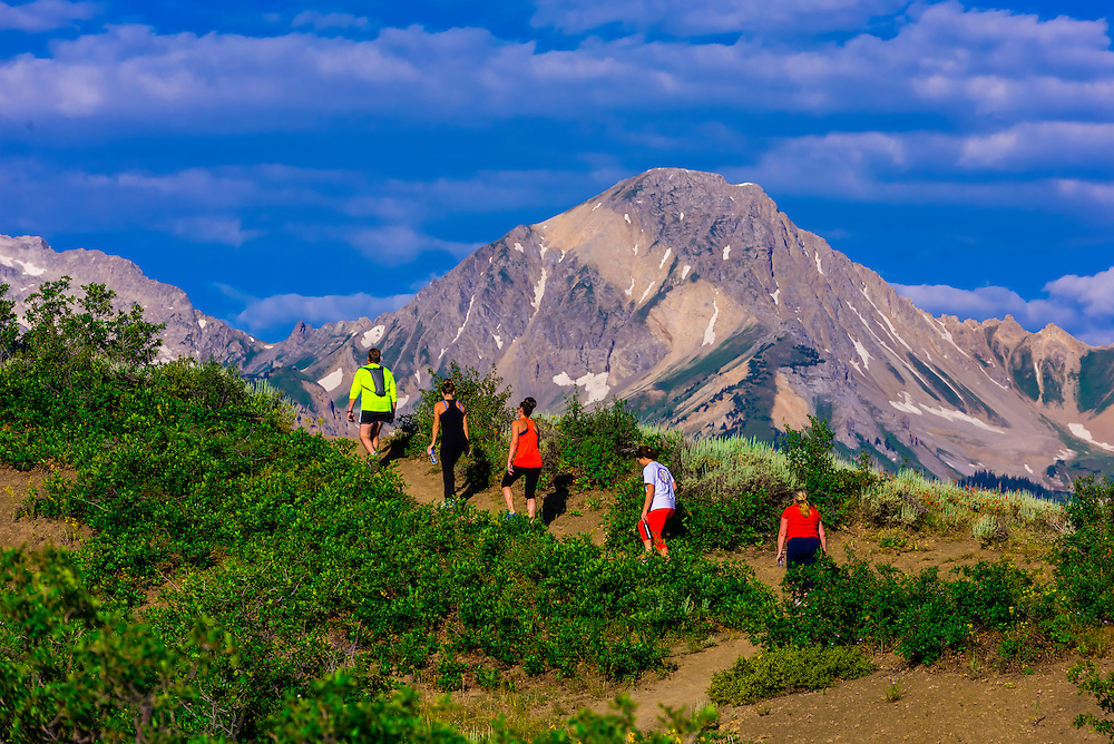 Hiking on the RIm Creek Trail (Mt. Dailey in background), Snowmass Village (Aspen), Colorado USA.