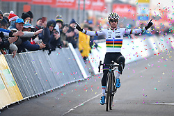 December 26, 2018 - Heusden-Zolder, BELGIUM - Belgian Eli Iserbyt celebrates as he crosses the finish line to win the men under 23 race of the seventh stage (out of nine) in the World Cup cyclocross, Wednesday 26 December 2018 in Heusden-Zolder, Belgium. BELGA PHOTO DAVID STOCKMAN (Credit Image: © David Stockman/Belga via ZUMA Press)