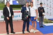 Paolo Barelli, <br /> Giancarlo Giorgetti sottosegretario di stato , <br /> Nicolo Martinenghi Italy ITA Silver medal<br /> Men's 100m Breaststroke <br /> Roma 21/06/2019 Stadio del Nuoto Foro Italico <br /> FIN 56 Trofeo Sette Colli 2019 Internazionali d'Italia<br /> Photo Andrea Staccioli/Deepbluemedia/Insidefoto