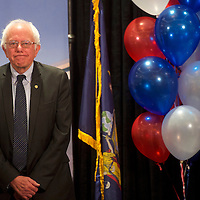PHILADELPHIA, PA- July 26, 2016. Bernie Sanders reacts during his introduction before addressing New York delegates at Loews Hotel on the second day of the Democratic National Convention in Philadelphia, PA on July 25, 2016.  CREDIT: Mark Makela for The New York Times      NYTDNC
