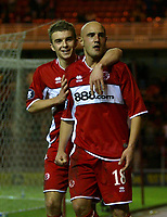 Photo: Andrew Unwin.<br /> Middlesbrough v Liteks Lovech. UEFA Cup. 15/12/2005.<br /> Middlesbrough's  Massimo Maccarone (R) celebrates his goal with James Morrison (L).