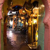 Africa, Morocco, Marrakech. Moroccan Lamps in Souks of Marrakech.