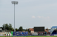 Both teams take part in a minutes silence for ex Rovers Chief Executive Gordon Bennett  during the EFL Sky Bet League 1 match between Bristol Rovers and Ipswich Town at the Memorial Stadium, Bristol, England on 19 September 2020.