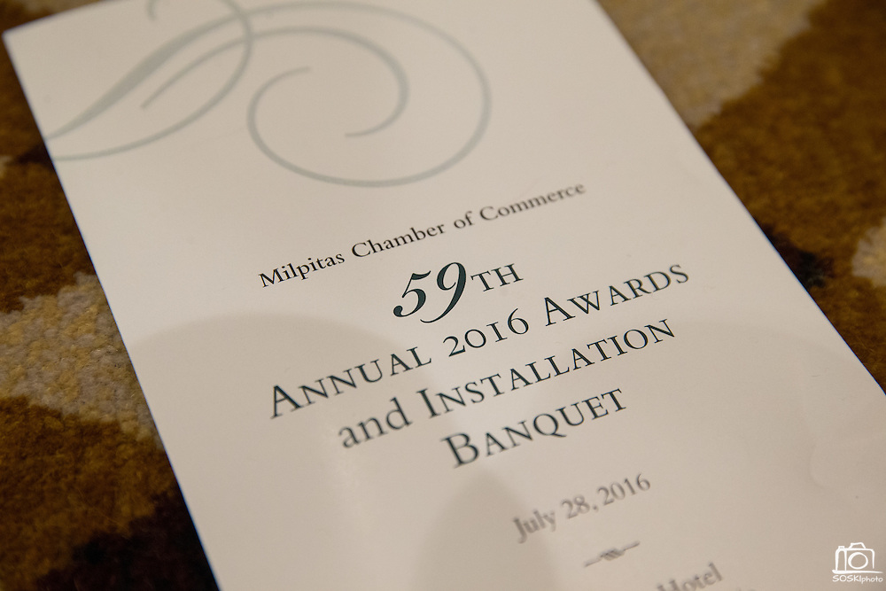 Milpitas Chamber of Commerce hosts its 59th Annual Awards and Installation Banquet at Sheraton San Jose Hotel in Milpitas, California, on July 28, 2016. (Stan Olszewski/SOSKIphoto)