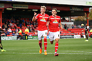 Adam King of Crewe Alexandra (l) celebrates after scoring his teams 1st goal. Skybet football league 1 match, Crewe Alexandra v Swindon Town at The Alexandra Stadium in Crewe, Cheshire on Saturday 5th September 2015.<br /> pic by Chris Stading, Andrew Orchard sports photography.