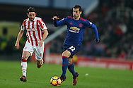 Henrikh Mkhitaryan of Manchester Utd in action. Premier league match, Stoke City v Manchester Utd at the Bet365 Stadium in Stoke on Trent, Staffs on Saturday 21st January 2017.<br /> pic by Andrew Orchard, Andrew Orchard sports photography.