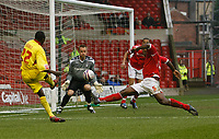 Photo: Steve Bond/Richard Lane Photography. <br />Nottingham Forest v Walsall. Coca Cola League One. 15/03/2008. Edrissa Sonko (L) has his shot blocked by incoming Wes Morgan (R)