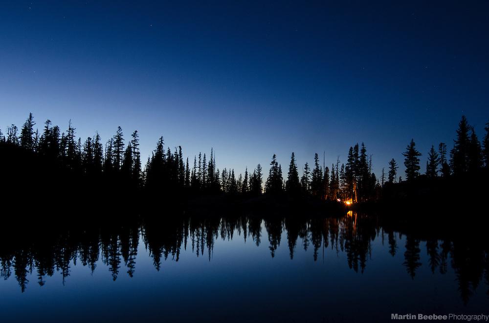 Evening campfire at Bull Run Lake, Carson-Iceberg Wilderness, Stanislaus National Forest, California