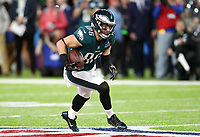 Philadelphia Eagles' Zach Ertz runs the ball during the   NFL Super Bowl 52 football game against the New England Patriots Sunday, Feb. 4, 2018, in Minneapolis.<br /> <br />  (Tom DiPace via AP )