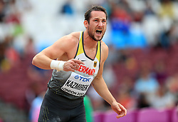 Germany's Kai Kazmirek competes in the Men's Decathlon Shot Put during day eight of the 2017 IAAF World Championships at the London Stadium.