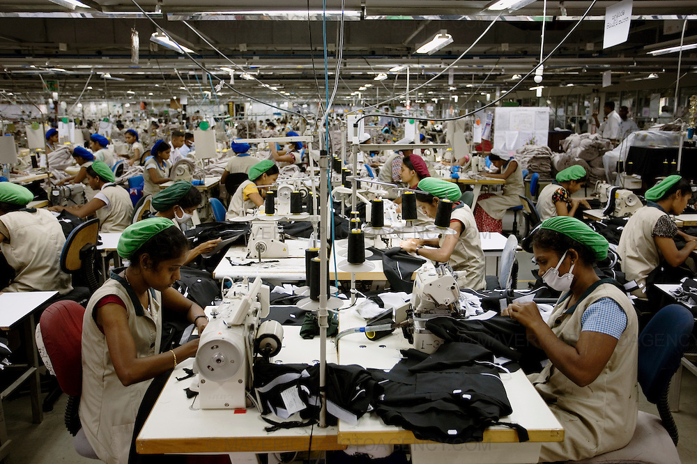 General views of a clothing factory in Colombo, Sri Lanka which manufactures goods for export to western markets. Pictured workers sew garments in the busy factory..