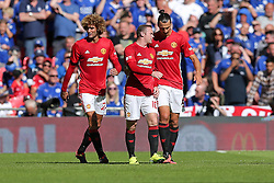 Wayne Rooney and Zlatan Ibrahimovic of Manchester United talk after Jesse Lingard scores a goal to givethem a 0-1 lead - Rogan Thomson/JMP - 07/08/2016 - FOOTBALL - Wembley Stadium - London, England - Leicester City v Manchester United - The FA Community Shield.