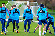 Andy Halliday (#16) of Heart of Midlothian FC (centre) during the Heart of Midlothian press conference and training session at Oriam Sports Performance Centre, Edinburgh, Scotland on 23 November 2020.