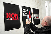 """Non allahmalgame by chargonetjarabia.com signed image in response to the Charlie Hebdo massacre: Artists defending freedom of expression and fighting against hatred mount an exhibition at """"Charlie Hexpo"""", Galerie 28 bis bld Bonne Nouvelle, Paris, France.<br /><br />This was a fundraising event for families of the twelve staff killed by jihadists at Charlie Hebdo, this included the editor and celebrated cartoonists, January 2015. The deadliest month of terror attacks in France for over fifty years. Charlie Hebdo is a satirical publication well known for its political cartoons. <br /><br />As a solidarity actions with the deaths at Charlie Hebdo some paintings read """"Je suis Charlie"""" translating as """"I am Charlie (Hebdo)"""". Other artists evoke feelings of the Muslim community 'Je suis Habibi"""". The arab word habibi refers to a friend, partner or relative"""