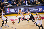 Golden State Warriors guard Stephen Curry (30) handles the ball against the LA Clippers at Oracle Arena in Oakland, Calif., on February 23, 2017. (Stan Olszewski/Special to S.F. Examiner)